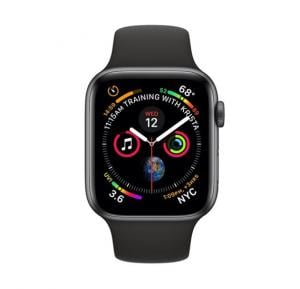 Apple Watch Series 4 44mm GPS + Cellular Space Gray Aluminum Case with Black Sport Band MTUW2