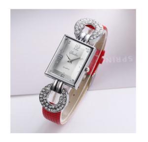 Generic Luobos Quartz Rhinestone Rectangle Dial Casual Wristwatch - Red