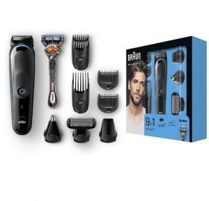 Braun 9-in-1 All-in-One Trimmer MGK5080 Beard Trimmer and Hair Clipper, Body Groomer, Ear and Nose Hair Trimmer