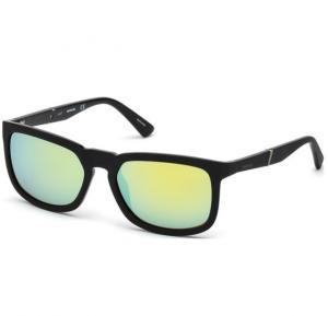 Diesel Sunglass DL0262 02Q For Unisex SG-Matte Black With Green Mirror, Size 56