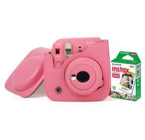 Fujifilm Instax Mini 9 Camera With Leather Bag and 10x Film Sheet - Flamingo Pink