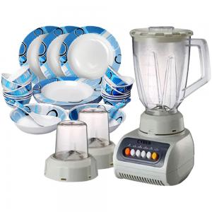 2 In 1 Cyber 3 In 1 Electric Blender With Grinder White CYB-999BS And OSP 22 pcs Melamine Ware Dinner Set RMDS-9722B