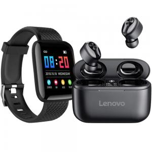 2 in 1 Bundle Lenovo HT18 Wireless TWS Bluetooth 5.0 Earphone Black and D13 Smart Watches 116 Plus Heart Rate Watch Smart Wristband Sports Watch Android