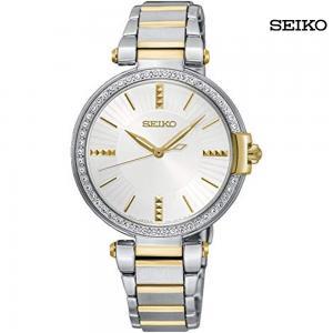 Seiko Ladies Analog Stainless Steel White Dial Watch, SRZ516P1