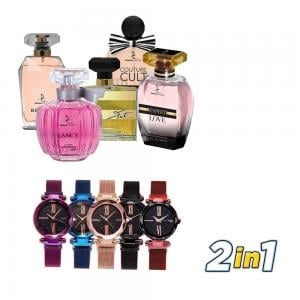 2 In 1 Dorall Collection 5pc Women Bundle And 5 in 1 DVANS Stylish Watch For Women Assorted Colors