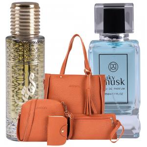 3 in 1 Special Pack Of Jin Jing 4 Set Bag, Ruky Oud Muqadhas and Ruky Musk 50 ml