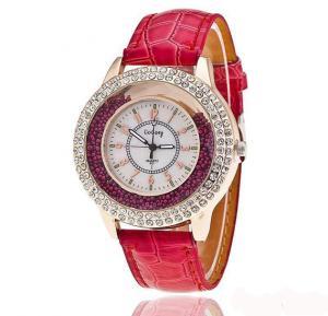 Generic New Women Runing Diamond Leather Watch Fashion Lady Dress Watch-Red