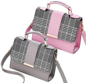 2 in 1 Korean style women fashion cross body Bag Pink & Grey