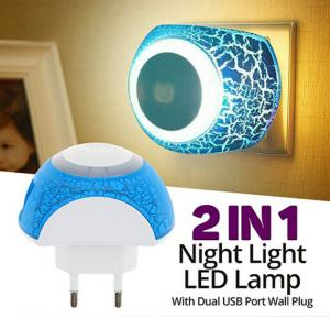 Zooni Universal 2 In 1 Multi Color 2.1A Touch Sensor Night Light LED Lamp, With Dual USB Port Wall Plug