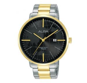 Alba Stainless steel side wrapped bracelet And Black dial Analog Watch For Men AS9J80X1