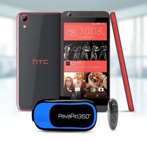 HTC Desire 626 Smartphone 4G Android 4.4,1GB Ram 16 GB Storage 5 Inch Display, Red Black with PavaPro 360 Virtual Reality Muti-Colour Headset