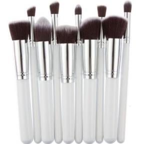 10 pcs cosmetic makeup beauty brushes tool set kit brush with leather case poush, white silver
