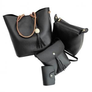 Women Bag Hollow Out Leather Handbags Set of 4 Pcs - Black