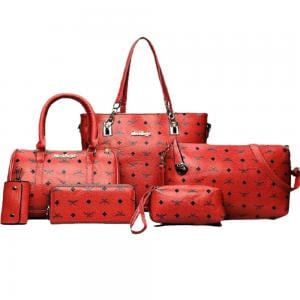 Womens 6 Pcs PU Leather Composite Luxury Print HandBag Set Red