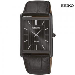 Seiko Men Analog Black Dial Leather Strap Watch, SUP881P1