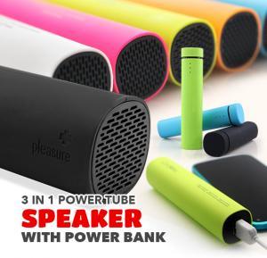 3 in 1 Power Tube Speaker with Power Bank