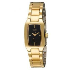 Casio Analog Watch For Women, Gold Stainless Steel Band With Black Dial-LTP-1165N-1C