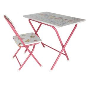Foldable Education Chair And Table ET-3678 Pink White