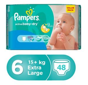 Pampers Active Baby Value Pack 15+Kg 48 Count, (1x48Pcs)