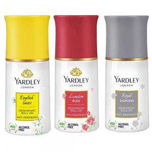 Yardley Deodorant Roll On For Women Pack Of 3, 1English Daisy 1London Rose and 1 Royal Diamond, 50ml