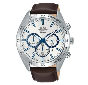 Alba Brown leather strap And Silver white dial Analog Watch For Men AT3B35X1
