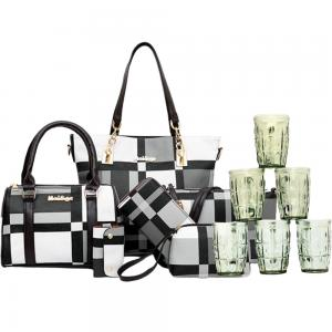 2 In 1 Womens 6 Piece PU Leather Canvas Bag with Pattern/Print Zipper, Black and White And  6 Pcs Glass Sets OSP5301
