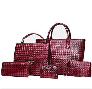 Womens 5 Pieces Embossed Bag Red