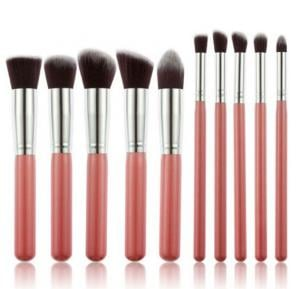 10 pcs cosmetic makeup beauty brushes tool set kit brush with leather case poush, pink silver