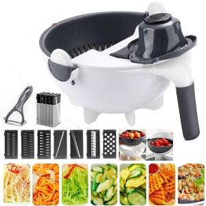 Multi Functional Magic Kitchen Vegetable and Fruit Shredder Copper Slicer, Rotate Vegetable Cutter Portable with Drain Basket