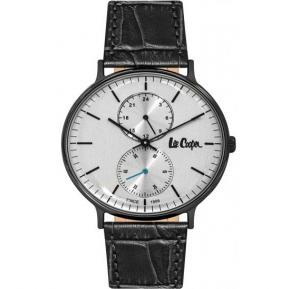 Lee Cooper Mens Analog Black Case Black Leather Strap Silver Dial, LC06381.661