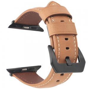 Promate Leather Watch Band, Premium Quality Leather Replacement Apple Watch 42mm/44mm, STITCH-42ML.L-BROWN