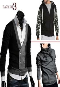 Mens Fashionable Turtle Hood+Mens Coat+Vneck RIB -M