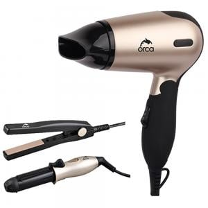 Orca OR-MINI SET Mini Hair Dryer with Straightener And Curler, Gold