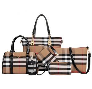 Elegant Plaid Tote Bag 6pcs, Brown