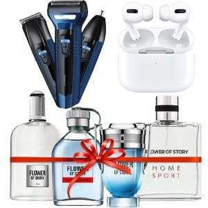 3 In 1 Flower of Story PCP01 Perfume Gift Set 25ml x 4 Piece, Geemy GM566 GM Waterproof 3 in 1 Hair Clipper And Trimmer Assorted And TWS Airpod Pro 3 Bluetooth Earphones Wireless Headset