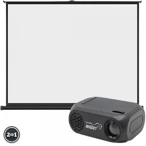 2 In 1 BISON LED Projector And Portable 30inch Projector Screen with Pull Up Foldable Stand Tripod