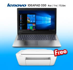 Bundle Offer Lenovo Ip330 Intel Celeron 4GB 1TB DVD DOS 15.6 ENG, Black Get Free HP Deskjet 2130 All-in-1 Printer