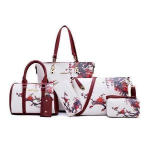 6 pc womens bags hot new arrival white meroon