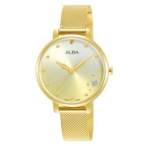 Alba Champagne gradation dial and Stainless steel mesh bracelet Analog Watch For Women AH8694X1