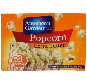 American Garden Microwave Popcorn Extra Butter 9.6 Oz