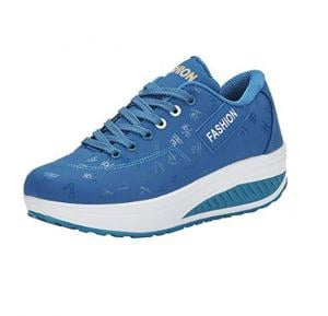 Women Sneakers Walking Shoes with Thick Soles-Light Blue 39 SH17