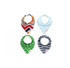Eazy kids Bandana Bibs Set of 4 Organic Cotton Stars Ships
