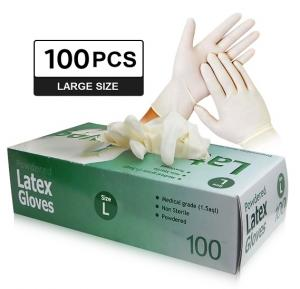 High Quality Latex Gloves (100 Pieces per Box) - Powdered, Non-Sterile, Food Safe -Large