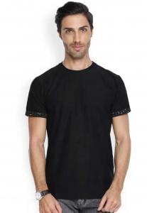 Denvlot Checkered Men Round Neck Black T-Shirt