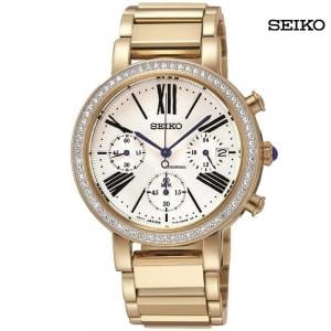 Seiko Ladies Chronograph Stainless Steel Gold Watch, SRW014P1