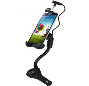 Promate FM13 Universal Smartphone Holder with In-built Hands-free, Car FM Transmitter and USB