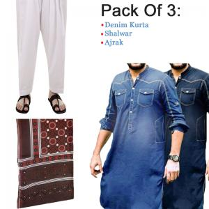 Fashionable Mens Kurta,Pack Of 3 Deal,  Random Colors, Small