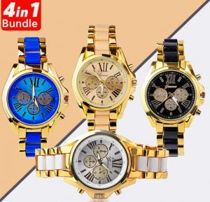 4 in 1 Geneva Analogue Dial Watch for Men