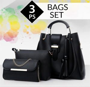 Wide Space Black Bags Set of 3 Pieces