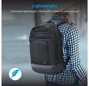 Promate Laptop Backpack, Multi-Functional Large Secure Storage with Multiple Pockets and Document Organizer, Durable Adjustable Strap for MacBook, Lenovo, Tablets, Accessories, Vertex-BP Black